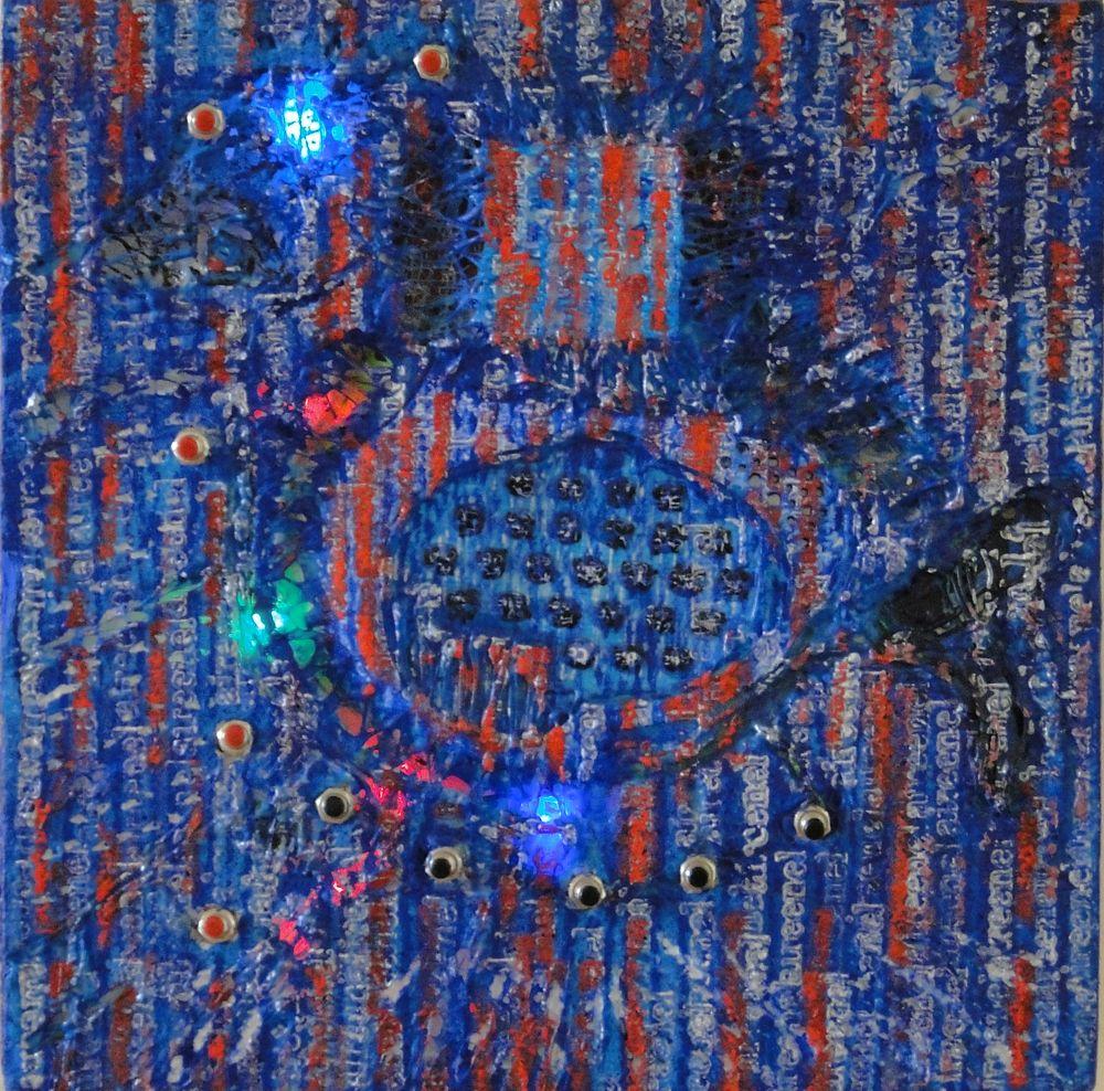 """""""Demintermitente"""" e-pintura demencial 30 x 30 cm. Pintura Electrónica Interactiva 2010"""