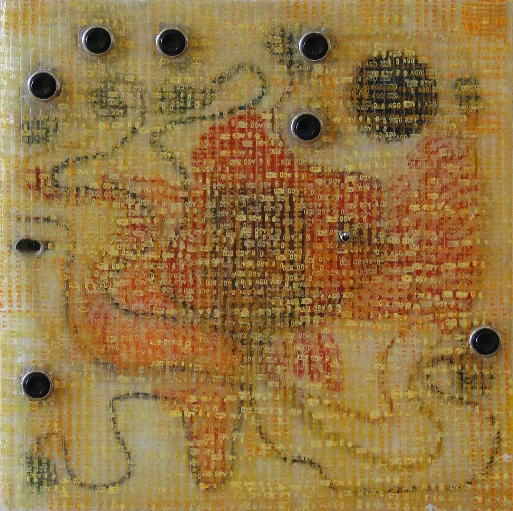 """""""El insospechado trinar del pájaro demencial"""" e-pintura demencial 30 x 30 cm. Pintura Electrónica Interactiva 2009"""
