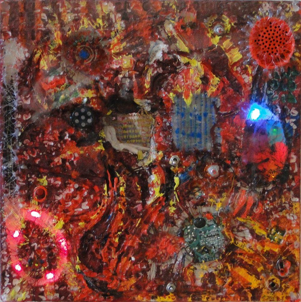 """""""El Incierto Umbral de la e-Pintura Demencial"""" e-pintura demencial 30 x 30 cm. Pintura Electrónica Interactiva 2009"""